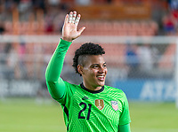 HOUSTON, TX - JUNE 13: Adrianna Franch #21 of the USWNT salutes the crowd after a game between Jamaica and USWNT at BBVA Stadium on June 13, 2021 in Houston, Texas.
