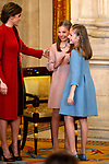 Princess Leonor of Spain (r), Princess Sofia of Spain (c) and Queen Letizia attend the Order of Golden Fleece (Toison de Oro), ceremony at the Royal Palace . January 30,2018. (ALTERPHOTOS/Pool)