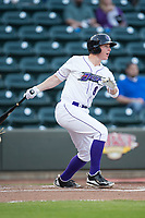 Zack Collins (8) of the Winston-Salem Dash follows through on his swing against the Buies Creek Astros at BB&T Ballpark on April 13, 2017 in Winston-Salem, North Carolina.  The Dash defeated the Astros 7-1.  (Brian Westerholt/Four Seam Images)