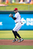 Indianapolis Indians shortstop Nick Franklin (12) during an International League game against the Columbus Clippers on April 29, 2019 at Victory Field in Indianapolis, Indiana. Indianapolis defeated Columbus 5-3. (Zachary Lucy/Four Seam Images)
