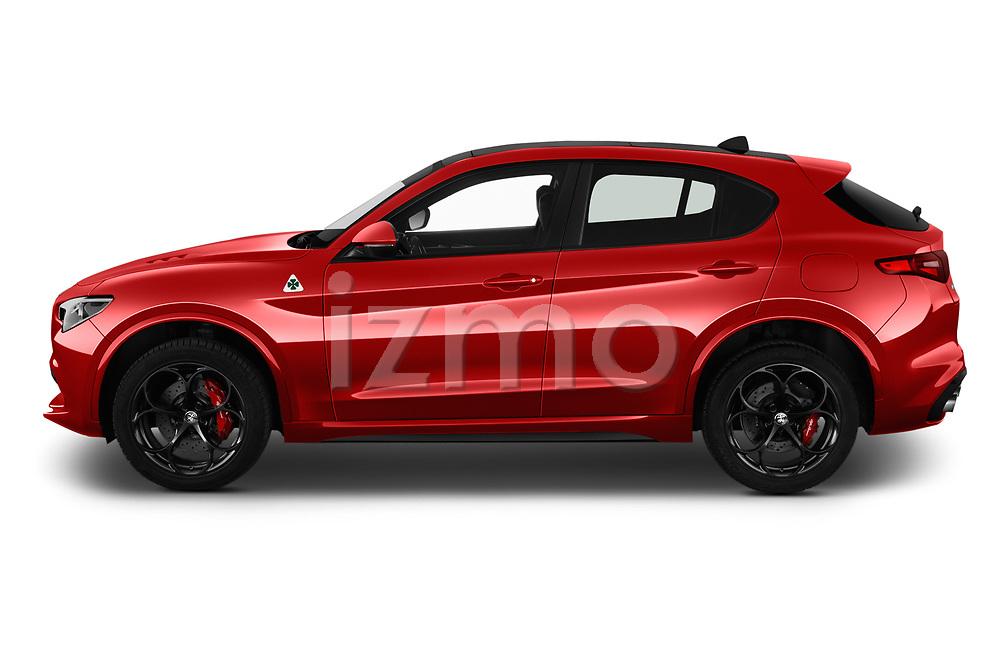 Side profile view of a 2019 Alfaromeo Stelvio-Quadrifoglio - 5 Door SUV Side View