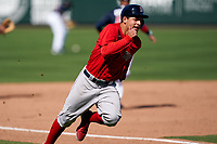 Boston Red Sox Nick Yorke (80) running the bases during a Major League Spring Training game against the Atlanta Braves on March 7, 2021 at CoolToday Park in North Port, Florida.  (Mike Janes/Four Seam Images)