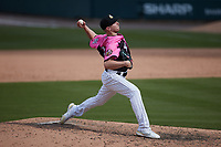 Charlotte Knights relief pitcher Hunter Schryver (14) in action against the Gwinnett Stripers at Truist Field on May 9, 2021 in Charlotte, North Carolina. (Brian Westerholt/Four Seam Images)