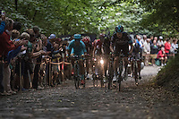 Lars Petter Nordhaug (NOR/SKY) is the first man up the infamous Muur van Geraardsbergen cobbles<br /> <br /> 12th Eneco Tour 2016 (UCI World Tour)<br /> Stage 7: Bornem › Geraardsbergen (198km)