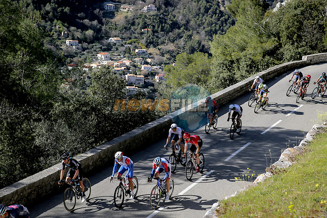 Riders climb Cote de Duranas during Stage 8 of Paris-Nice 2021, running 92.7km from Le Plan-du-Var to Levens, France. 14th March 2021.<br /> Picture: ASO/Fabien Boukla | Cyclefile<br /> <br /> All photos usage must carry mandatory copyright credit (© Cyclefile | ASO/Fabien Boukla)