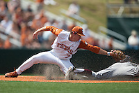 Texas Longhorns second baseman Jordan Etier #7 tags out an attempted steal during the NCAA baseball game against the Texas A&M Aggies on April 29, 2012 at UFCU Disch-Falk Field in Austin, Texas. The Longhorns beat the Aggies 2-1 in the last ever regular season game scheduled for the long time rivals. (Andrew Woolley / Four Seam Images)