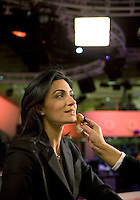 Newsreader Ghida Fakhry about to go on air for news channel Al Jazeera English in Doha...