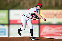 Danville Braves starting pitcher Connor Johnstone (48) follows through on his delivery against the Elizabethton Twins at American Legion Post 325 Field on July 1, 2017 in Danville, Virginia.  The Twins defeated the Braves 7-4.  (Brian Westerholt/Four Seam Images)