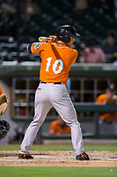 Drew Dosch (10) of the Norfolk Tides at bat against the Charlotte Knights at BB&T BallPark on May 2, 2017 in Charlotte, North Carolina.  The Knights defeated the Tides 8-3.  (Brian Westerholt/Four Seam Images)