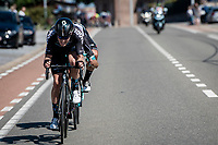 the breakaway duo consisting of Casper Pedersen (DEN/DSM) & Jack Bauer (NZL/BikeExchange) about to get caught by the peloton<br /> <br /> 17th Benelux Tour 2021<br /> Stage 5 from Riemst to Bilzen (BEL/192km)<br /> <br /> ©kramon
