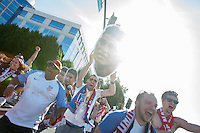 Santa Clara, CA - Friday June 3, 2016: USA fans carry a cutout of a crying James Rodriguez while walking to the stadium before the game. USA played Colombia in the opening match of the Copa América Centenario game at Levi's Stadium.