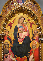 Gothic altarpiece of Madonna and Child and the Saints, by Rossello di Jacopo Franchi, from Florence, 1st quarter of 15th century.  National Museum of Catalan Art, Barcelona, Spain, inv no: MNAC  15932.