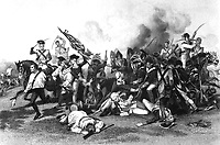 Battle of Camden - Death of De Kalb. August 1780.  Copy of engraving after Alonzo Chappel.  (George Washington Bicentennial Commission)<br /> Exact Date Shot Unknown<br /> NARA FILE #:  148-GW-164<br /> WAR & CONFLICT #:  41