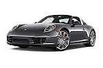 Stock pictures of low aggressive front three quarter view of a 2015 Porsche 911 Targa 4S 2 Door Coupe Low Aggressive