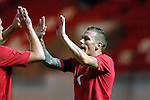 Wales Captain Craig Bellamy congratulates Andy King on his goal during the International Friendly between Wales and Luxembourg at Parc y Scarlets in LLanelli..
