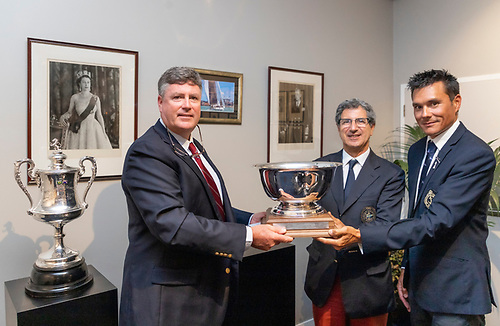 The Presentation of the Pell Cup by Simon Davidson (L) - Commodore Ida Lewis YC, Agostino Randazzo - Commodore Circolo Della Vella Sicilia YC,(centre) Aaron Young - Commodore RNZYS.