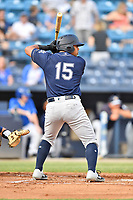 Charleston RiverDogs left fielder Canaan Smith (15) awaits a pitch during a game against the Asheville Tourists at McCormick Field on May 22, 2019 in Asheville, North Carolina. The Tourists defeated the RiverDogs 10-8. (Tony Farlow/Four Seam Images)
