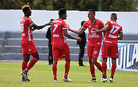 TUNJA -COLOMBIA-15-MAYO-2016.Mauricio Gómez  ( 2Der.) de Patriotas FC celebra su gol contra  del Nacional durante partido por la fecha 18 de Liga Águila I 2016 jugado en el estadio La Independencia./ Mauricio Gomez (2R) of Patriotas FC celebrates his goal against  of Nacional during the match for the date 18 of the Aguila League I 2016 played at La Independencia stadium in Tunja. Photo: VizzorImage / César Melgarejo  / Contribuidor