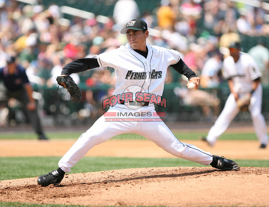 2007:  Jo Matumoto of the New Hampshire Fisher Cats, Class-AA affiliate of the Toronto Blue Jays, during the Eastern League baseball season.  Photo by Mike Janes/Four Seam Images