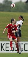 June 26, 2005; Virginia Beach, VA, USA;  USWNT midfielder Shannon Boxx (7) heads the ball over Canada's Amy Walsh (13) at the Virginia Beach SportsPlex.