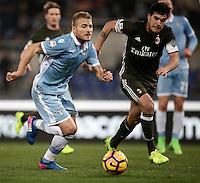 Calcio, Serie A: Lazio, Stadio Olimpico, 13 febbraio 2017.<br /> Lazio's Ciro Immobile (l) in action with Milan's Gustavo Gomez (r) during the Italian Serie A football match between Lazio and Milan at Roma's Olympic Stadium, on February 13, 2017.<br /> UPDATE IMAGES PRESS/Isabella Bonotto