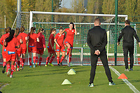 players of Zulte Waregem  pictured during the warming up of a female soccer game between SV Zulte - Waregem and Oud Heverlee Leuven on the sixth matchday of the 2020 - 2021 season of Belgian Scooore Women s SuperLeague , saturday 7 th of November 2020  in Zulte , Belgium . PHOTO SPORTPIX.BE   SPP   DIRK VUYLSTEKE