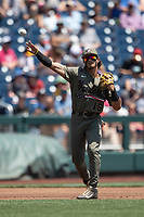 Vanderbilt Commodores third baseman Austin Martin (16) makes a throw to first base during Game 3 of the NCAA College World Series against the Louisville Cardinals on June 16, 2019 at TD Ameritrade Park in Omaha, Nebraska. Vanderbilt defeated Louisville 3-1. (Andrew Woolley/Four Seam Images)