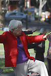 ELDERLY ASIAN WOMAN PRACTICES EARLY MORNING TAI-CHI in the PARK
