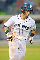 Larry Gonzalez #23 of the Pulaski Mariners hustles down the first base line against the Greeneville Astros at Calfee Park August 29, 2010, in Pulaski, Virginia.  Photo by Brian Westerholt / Four Seam Images