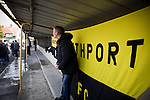 A Southport fan in the covered enclosure watching his team taking on Harrogate Town at Wetherby Road, Harrogate. The Conference North match was won 3-2 by Southport, a result which kept the Sandgrounders on course for top spot in the division while Harrogate Town remained bottom.