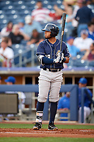 San Antonio Missions first baseman Fernando Perez (22) at bat during a game against the Tulsa Drillers on June 1, 2017 at ONEOK Field in Tulsa, Oklahoma.  Tulsa defeated San Antonio 5-4 in eleven innings.  (Mike Janes/Four Seam Images)