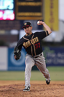 Trent Daniel (37) of the Modesto Nuts pitches during a game against the Lancaster JetHawks at The Hanger on April 25, 2015 in Lancaster, California. Lancaster defeated Modesto, 5-4. (Larry Goren/Four Seam Images)