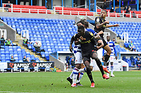 Joao Pedro of Watford right has a header on goal during Reading vs Watford, Sky Bet EFL Championship Football at the Madejski Stadium on 3rd October 2020