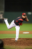 Batavia Muckdogs relief pitcher Vincenzo Aiello (38) delivers a pitch during a game against the Mahoning Valley Scrappers on August 29, 2017 at Dwyer Stadium in Batavia, New York.  Batavia defeated Mahoning Valley 2-0.  (Mike Janes/Four Seam Images)