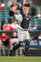 Louisville Bats catcher Brian Peacock #20 during a game against the Rochester Red Wings at Frontier Field on May 15, 2012 in Rochester, New York.  Rochester defeated Louisville 5-4.  (Mike Janes/Four Seam Images)