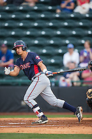 Lucas Herbert (14) of the Rome Braves follows through on his swing against the Hickory Crawdads at L.P. Frans Stadium on May 12, 2016 in Hickory, North Carolina.  The Braves defeated the Crawdads 3-0.  (Brian Westerholt/Four Seam Images)