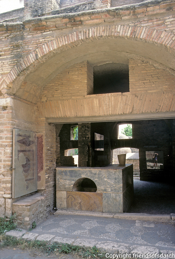 Italy: Ostia--A fruit and vegetable shop with a marble counter. A Thermopolium: tavern-wine shop serving food and often offering lodging.  Photo '83.