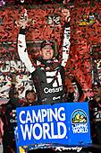 NASCAR Camping World Truck Series<br /> Toyota Tundra 250<br /> Kansas Speedway, Kansas City, KS USA<br /> Friday 12 May 2017<br /> Kyle Busch, Cessna Toyota Tundra celebrates his win in Victory Lane<br /> World Copyright: Nigel Kinrade<br /> LAT Images<br /> ref: Digital Image 17KAN1nk07140