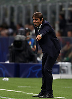 Football Soccer: UEFA Champions League -Group Stage- Group F Internazionale Milano vs  SK Slavia Praha, Giuseppe Meazza stadium, September 17, 2019.<br /> nter's coach Antonio Conte speaks to his players during the Uefa Champions League football match between Internazionale Milano and Slavia Praha at Giuseppe Meazza (San Siro) stadium, September 17, 2019.<br /> UPDATE IMAGES PRESS/Isabella Bonotto