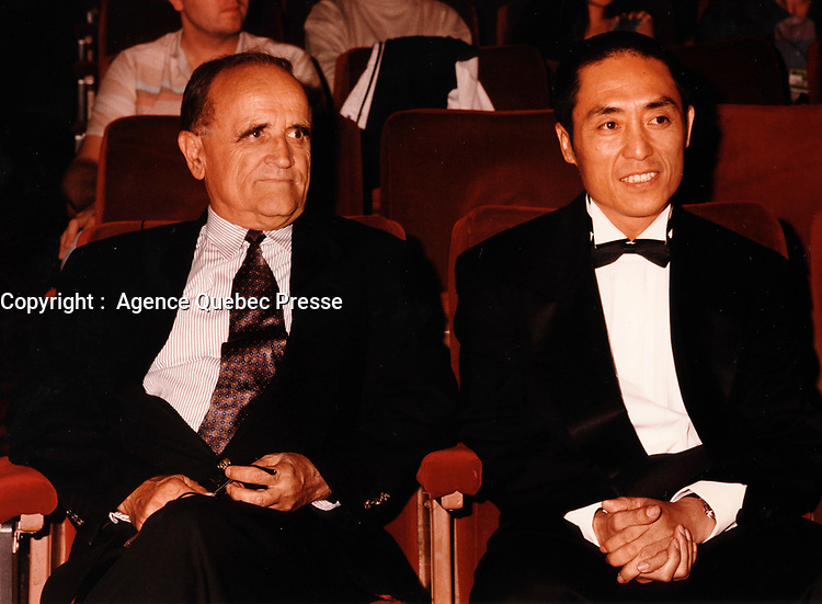Montreal (Qc) CANADA - 1998 File Photo -serge Losique (L), Zhang Yimou(R)<br /> <br /> PHOTO :  Agence Quebec Presse