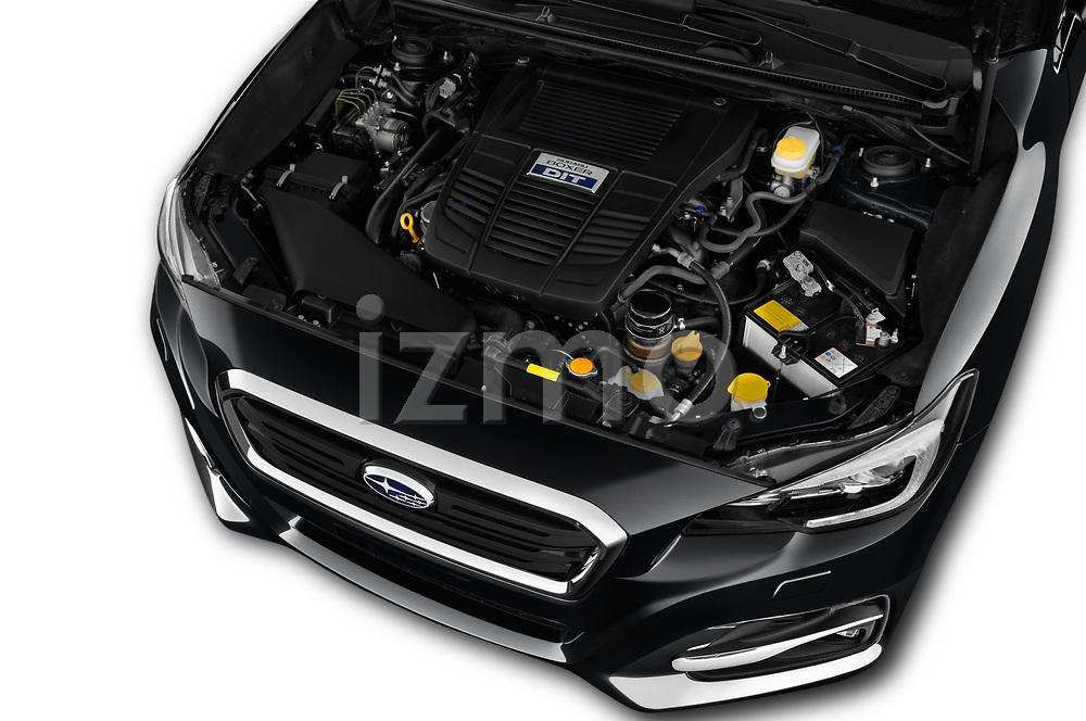 Car stock 2018 Subaru Levorg GTS Premium 5 Door Wagon engine high angle detail view