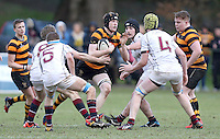 RBAI vs R S ARMAGH | Saturday 21st February 2015<br /> <br /> Charlie Fryers on the attack during 2015 Ulster Schools Cup Quarter-Final between RBAI and Royal School Armagh at Osborne Park, Belfast, Northern Ireland.<br /> <br /> Picture credit: John Dickson / DICKSONDIGITAL