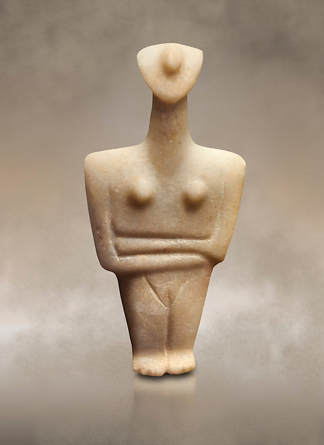 Marble female Cycladic statue figurine with folded arms. Early Cycladic Period II (2800-2300 BC) from Chalandriani, Syros. National Archaeological Museum, Athens.