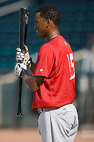 Alcides Escobar (15) of the Huntsville Stars waits for his turn in the batting cage at the Baseball Grounds in Jacksonville, FL, Thursday June 12, 2008.