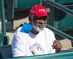 Richard Williams watches daughter  Venus Williams (USA) win against Chanelle Scheepers at the Family Circle Cup in Charleston, South Carolina on April 2, 2014.