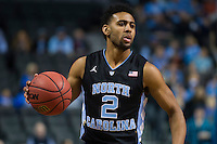 BROOKLYN, NY - Saturday December 19, 2015: Joel Berry II (#2) of North Carolina and his Tar Heels take on the UCLA Bruins in the CBS Classic at Barclays Center in Brooklyn, NY.