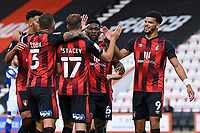 Dominic Solanke of Bournemouth right congratulates goalscorer Jack Stacey of Bournemouth during AFC Bournemouth vs Blackburn Rovers, Sky Bet EFL Championship Football at the Vitality Stadium on 12th September 2020