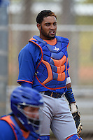 New York Mets catcher Adrian Abreu (82) during practice before a minor league spring training game against the St. Louis Cardinals on April 1, 2015 at the Roger Dean Complex in Jupiter, Florida.  (Mike Janes/Four Seam Images)