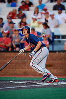 Danville Braves first baseman Griffin Benson (16) follows through on a swing during a game against the Johnson City Cardinals on July 28, 2018 at TVA Credit Union Ballpark in Johnson City, Tennessee.  Danville defeated Johnson City 7-4.  (Mike Janes/Four Seam Images)