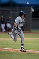 AZL Padres 1 catcher Gilberto Vizcarra (2) hustles down the first base line during an Arizona League game against the AZL Padres 2 at Peoria Sports Complex on July 14, 2018 in Peoria, Arizona. The AZL Padres 1 defeated the AZL Padres 2 4-0. (Zachary Lucy/Four Seam Images)